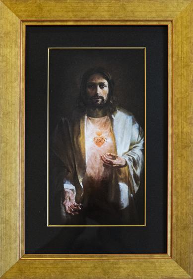 Serce Jezusa - obraz rama drewniana