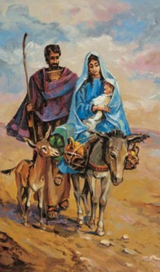 Obrazki kolędowe - Święta Rodzina na osiołku
