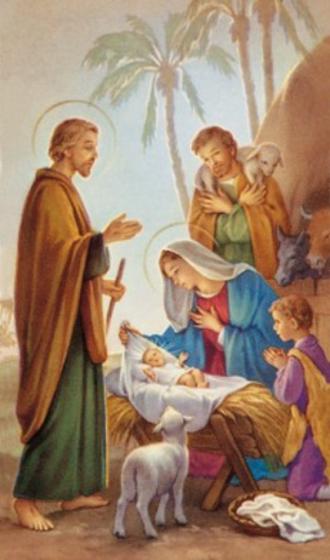 Obrazki kolędowe - Święta Rodzina / palma