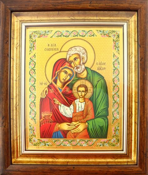 Ikona Święta Rodzina zielona(S) za szkłem