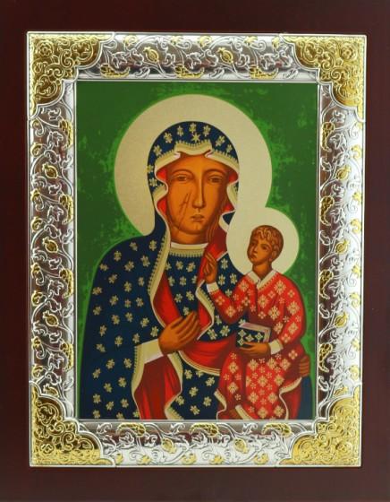 Ikona Matka Boża Częstochowska posrebrzana ramka