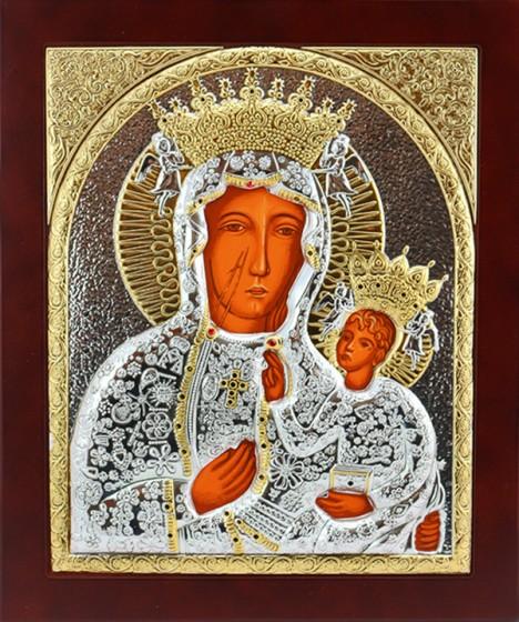 Ikona Matka Boża Częstochowska srebrno-złota