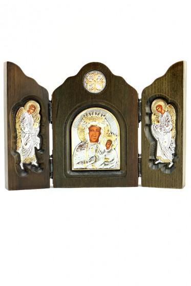 Ikona Matka Boża Częstochowska Tryptyk srebrna mała