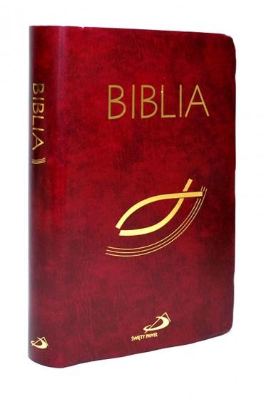 Biblia. Stary i Nowy Testament czerwona z rybką