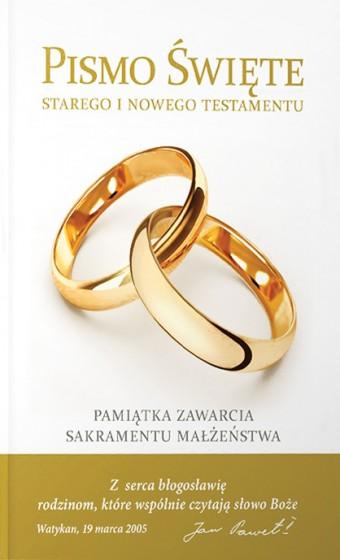 Pismo Święte Starego i Nowego Testamentu Pamiątka zawarcia Sakramentu Małżeństwa