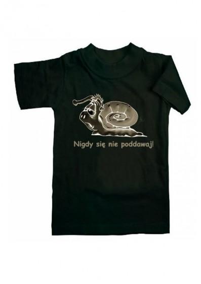 Koszulka - Nigdy się nie poddawaj (czarna, M)