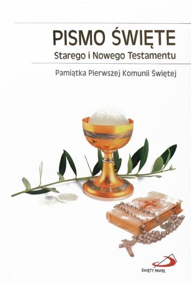 Pismo Święte Starego i Nowego Testamentu I komunia złocone brzegi