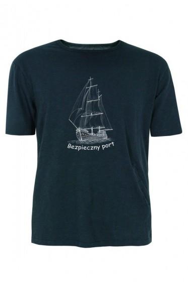 Koszulka -  Bezpieczny port Jezus (czarna, rozmiar L)