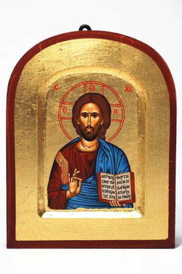 Ikona Chrystus Pantokrator niebieski bardzo mała
