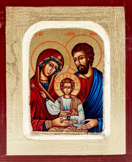 Ikona Święta Rodzina niebieska 3 bardzo mała
