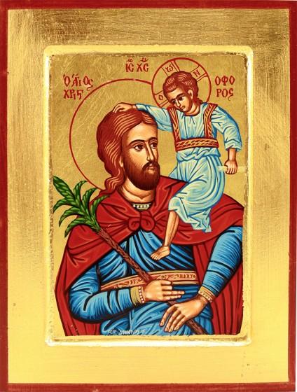 Ikona Święty Krzysztof niebieski średnia