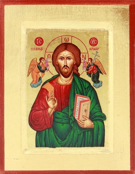 Ikona Chrystus Pantokrator zielona