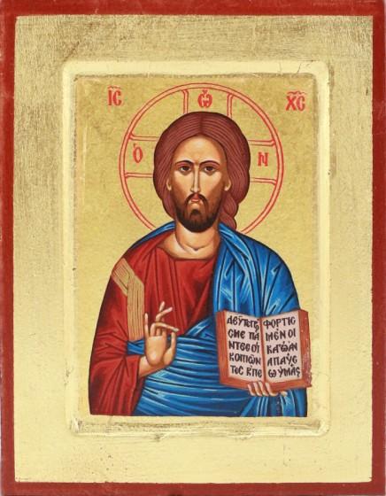 Ikona Chrystus Pantokrator niebieski średni