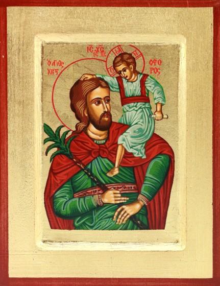 Ikona Święty Krzysztof zielony mała
