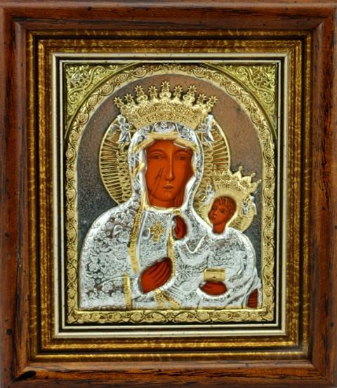 Ikona Matka Boża Częstochowska srebrna bardzo mała