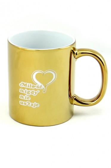 Kubek - Miłość nigdy nie ustaje złoty