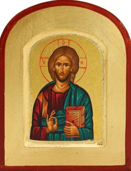 Ikona Chrystus Pantokrator zielona bardzo mała