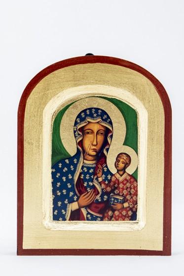 Ikona Matka Boża Częstochowska (bardzo mała) zaokrąglona