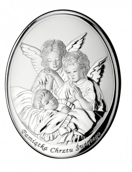 Aniołki nad dzieckiem obrazek srebrny 000605 T8