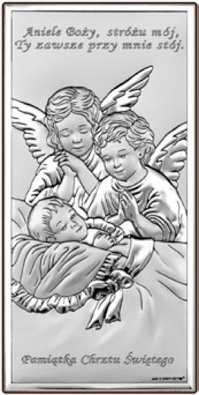 Aniołki nad dzieciątkiem obrazek srebrny 6468S/2X