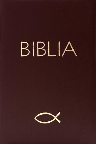 Biblia. Stary i Nowy Testament z rybką zamek brąz