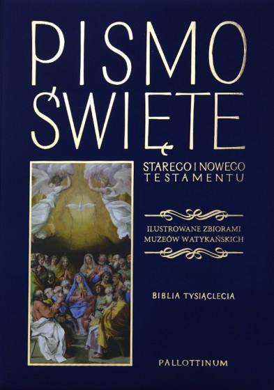 Pismo Święte granatowe Ilustrowane zbiorami Muzeów Watykańskich