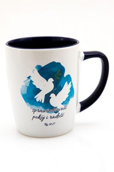Kubek - Sprawiedliwość, pokój i radość granatowy