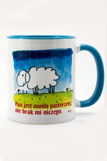 Kubek - Pan jest moim pasterzem niebieski