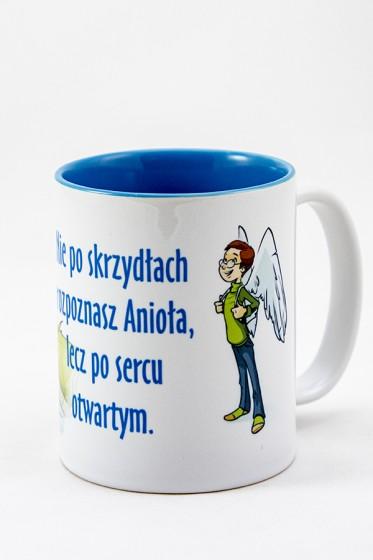 Kubek - Nie po skrzydłach rozpoznasz Anioła, lecz po sercu otwartym niebieski