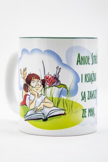 Kubek - Anioł Stróż i książka są zawsze ze mną zielony