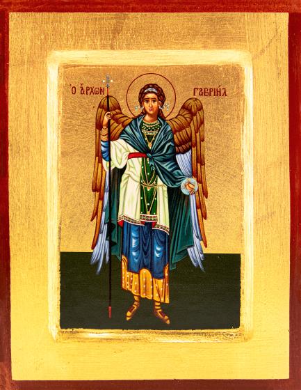 Ikona Święty Gabriel Archanioł granatowy płaszcz mała
