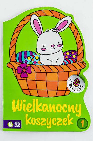 Wielkanocny koszyczek 1 Kolorowanki z naklejkami