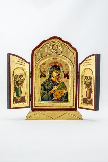 Ikona Matka Boża Nieustającej Pomocy Tryptyk czerwona tren