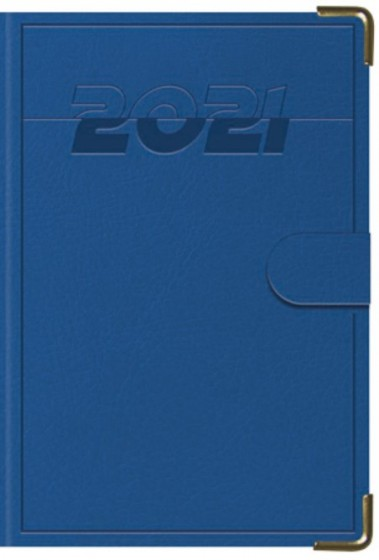 Terminarz B7 Lux Złocony z zapinką niebieski