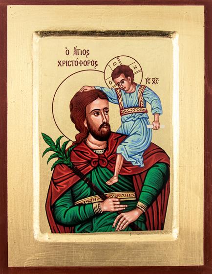 Ikona Święty Krzysztof / średnia zielony