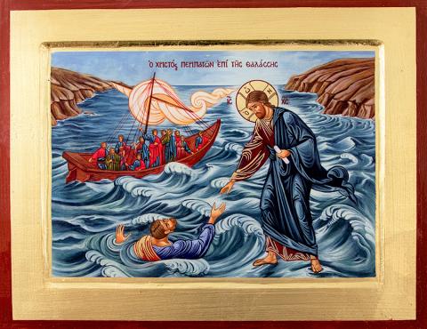 Ikona - Chrystus chodzący po wodzie mała