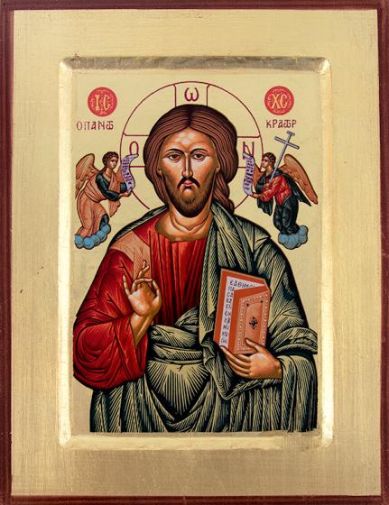 Ikona - Chrystus Pantokrator /zielona/ 1s
