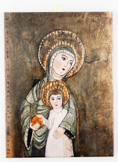 Matka Boża z Dzieciątkiem - kafelek jasny