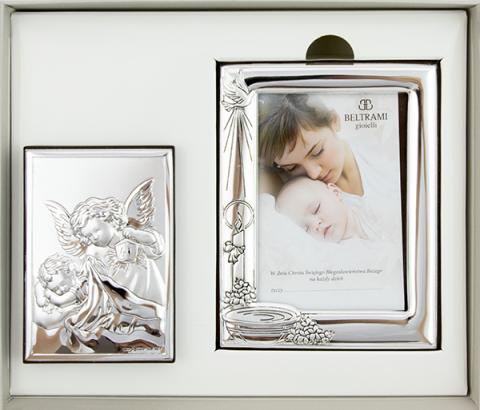 Zestaw obrazków srebrnych - Pamiątka Chrztu Świętego 6438/SET2