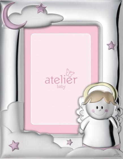 Ramka srebrna Aniołek - dla dziewczynki różowa AE0411/9R