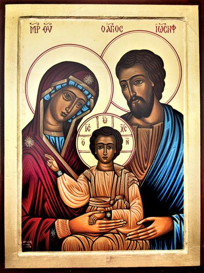 Ikona Święta Rodzina bardzo duża niebieska