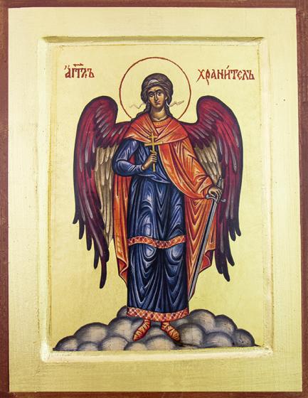 Ikona Anioł Stróż / wzór 2 z krzyżem duża