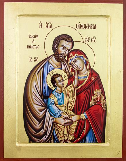Ikona Święta Rodzina / brązowa szata Józefa duża