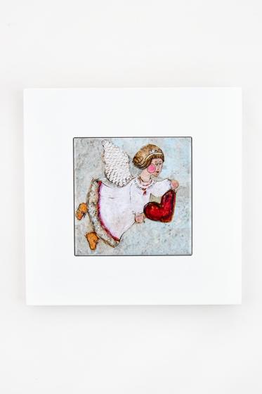 Anioł z sercem - kafelek w ramce