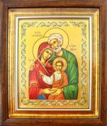 Ikona Święta Rodzina zielona(S) za szkłem - ,