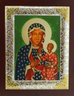Ikona Matka Boża Częstochowska posrebrzana ramka - ,
