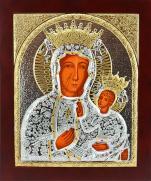 Ikona Matka Boża Częstochowska srebrno-złota - ,
