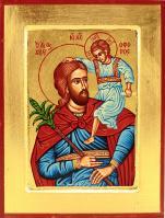 Ikona Święty Krzysztof niebieski średnia - ,