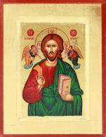 Ikona Chrystus Pantokrator zielona - ,