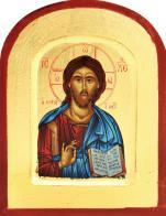 Ikona Chrystus Pantokrator niebieski, zaokr. rogi - ,